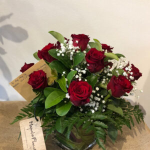 Dozen Red Roses in Cube Vase